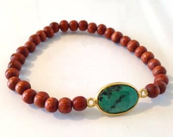 Mini Wood and Turquoise Gem Bracelet