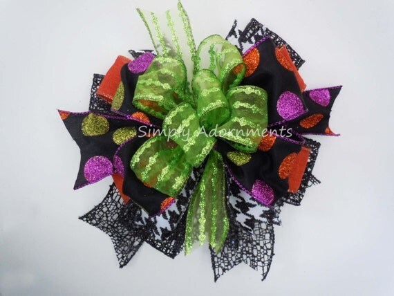 Halloween Lantern Bow Fall Wreath Bow Halloween Wedding Pew Bow Autumn Fall Halloween Centerpiece Decoration