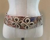 vintage hipster 90s wide woven tapestry belt, hipster belt, hipster fashion, tapestry belt, wide belt