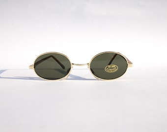 Authentic Vintage 90s Circle Sunglasses/  Oval Shades w Gold Tone Frame - NOS Dead Stock Steampunk /Grunge/Rave