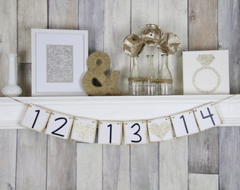 Save the Date, Wedding Banner, Wedding Date Banner, Save the Date Sign, Shabby Chic