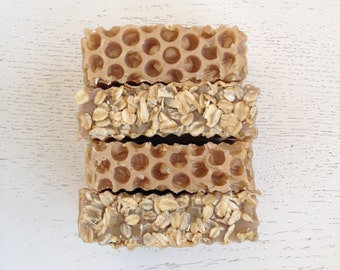 Oatmeal, Milk,  and Honey Handmade Soap with Local Organic Honey - Cold Process - oatmeal soap