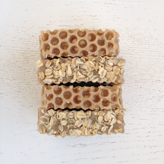 Oatmeal, Milk, and Honey Handmade Soap with Local Organic Honey - homemade soap - soap- oatmeal soap