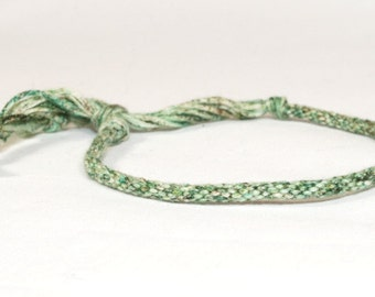 Kumihimo Braided Bracelet Green Speckled Fibre Egyptian Cotton Skinny Jewelry