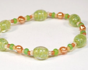 ONLY ONE LIMITED Edition Bracelet Lime Green Stone & Bead Bracelet Jewelry