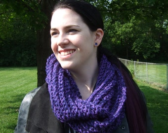 Infinity Scarf, Chunky, Crochet, Purple and Navy Blue, Two-Tone, women's circle scarf