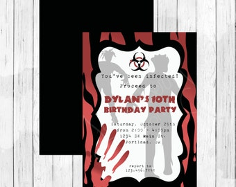 Zombie Theme Party Personalized Birthday Invitation or Evite - Costume Party Invitation, Halloween Party - Walking Dead Party
