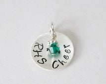 Personalized Cheer Charm Cheerleading Gift Team Cheer Jewelry Hand Stamped Sterling Silver