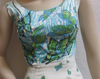 "1960s ""Norma Morgan"" Polished Cotton Wiggle Dress - 23 1/2 inch waist"