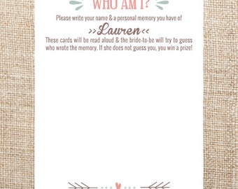 Bridal Shower Game Customized Printable Who Am I