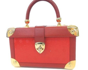 Vintage POLLINI rare lipstick red monogram and leather square vanity handbag, purse, party bag with gold tone hardware. Chic and gorgeous.