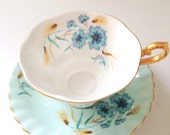 Vintage Royal Albert Footed Tea Cup and Saucer Cottage Style Wedding, Bridal Shower, Thank You or Housewarming Gift Inspiration