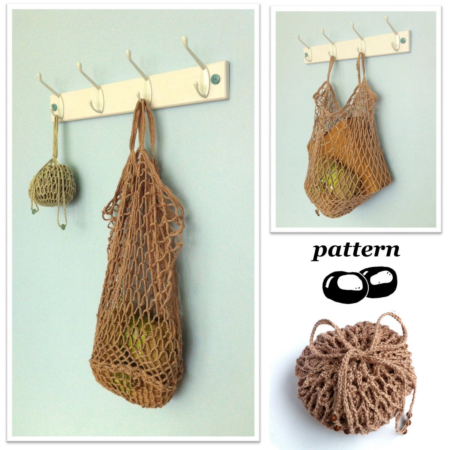 Crochet Mesh Bag Pattern : Crochet Bag Pattern / String Bag Pattern / by LittleConkers