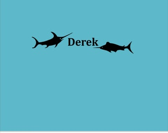 Swordfish with Name Vinyl Wall Decal - Boy or Girls Bedroom Vinyl Wall Name with Swordfish