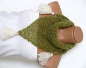Knitted Shawl. Wrap Shrug. Silvery green and cream. Womens Accessory. Shawl, Capelet,  Woman Accessories, 2015 Winter Warm, Gift