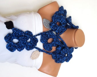 Blue  lariat scarves,Hand made crochet black ivy leafs and flowers Lariat Scarf. Fashion Flower Scarves, Necklace...