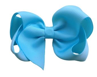 4 inch ocean blue hair bow - light blue bow, boutique bows, girls hair bows, girls bows, blue hair bows, 4 inch bows, toddler bows