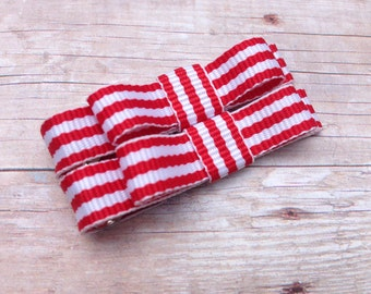 Red & white striped baby bows - tuxedo bows, toddler bows, hair bows, baby bows, hair clips, baby clips, girls bows