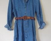 90s Southwestern Denim Button Down Dress