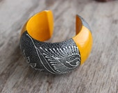 Big Yellow Wooden Bangle Bracelet Handmade With Silver Painting Thailand Fair Trade Jewelry (B131-SVY)