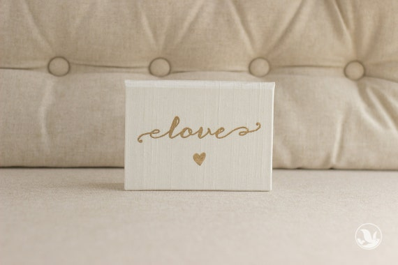 Vow Holder™ Pocket sized Wedding Vow Book - Love Script with Heart Silk Folio Vow Keepsake - Gold Foil Wedding Vow Holder