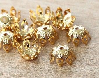 20 Pcs Bead Caps, Gold Plated Brass, 9mm Filigree Gothic - eBCB007-GP