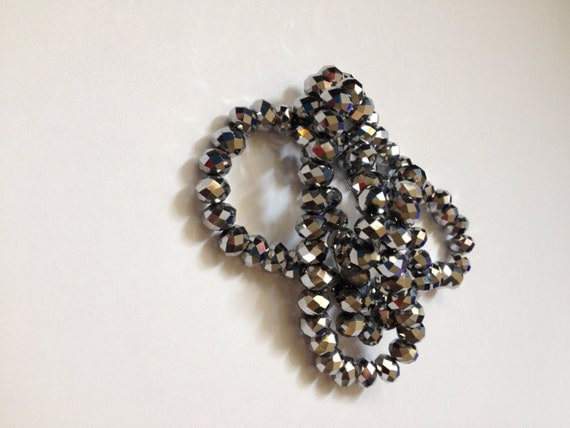 Solid Silver Crystal Beads - 40 beads 4x6mm
