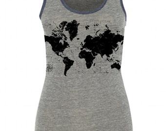 Womens WORLD MAP Traveler Yoga Boho gypsy Screen Print Ringer Tank, Alternative Apparel Eco Heather S M L XL