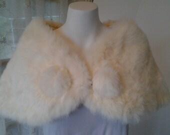 Rabbit Fur Ladies Stole Soft White 1950s