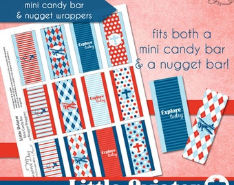 LIttle Aviator Mini Candy Bar or Nugget Wrappers • PRINTABLE Birthday Baby Shower • by The Occasional Day