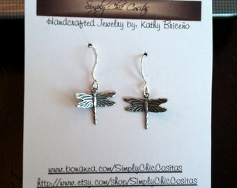 Antiqued Silver or Gold Plate Dragonfly Earrings (PLEASE SPECIFY WHICH)