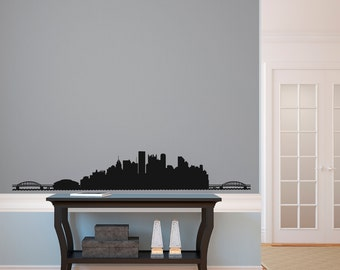 Pittsburgh City Skyline Silhouette  - Wall Decal Custom Vinyl Art Stickers