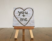 You + Me sweetheart painting with easel tree carving birch bark