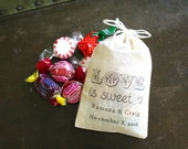 """Personalized wedding favor bags, 3x4.5. Set of 50 double drawstring muslin bags.  """"Love is Sweet"""" design with names and date."""
