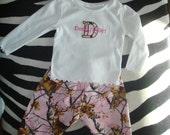 Infant Real Tree Deer Pink GIrl Camo Onesie Pants & Headband Daddy's Girl Applique Size 12 mos Long Sleeve