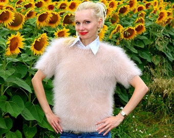 Made to order hand knitted mohair sweater with short sleeves in beige color by SuperTanya