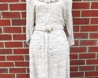 Neutral Striped Cowl Neck Sweater Dress with Fringed Hemline