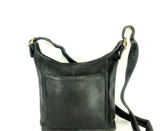REDUCED~ Coach Leather Bucket Bag - Vintage Coach Bag - Black Saddle Bag Satchel - Coach Tote