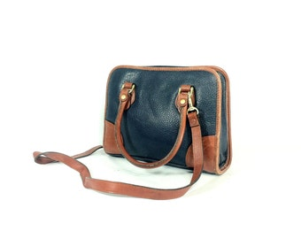 Full Grain Leather Satchel - Navy Leather Satchel - Cross Body Bag - 80s Leather Bag