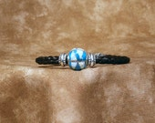 Braided Horsehair Bracelet with Opal and Turquoise Inlaid Sterling Silver Bead with Sterling Filigree End Caps & Heart Clasp