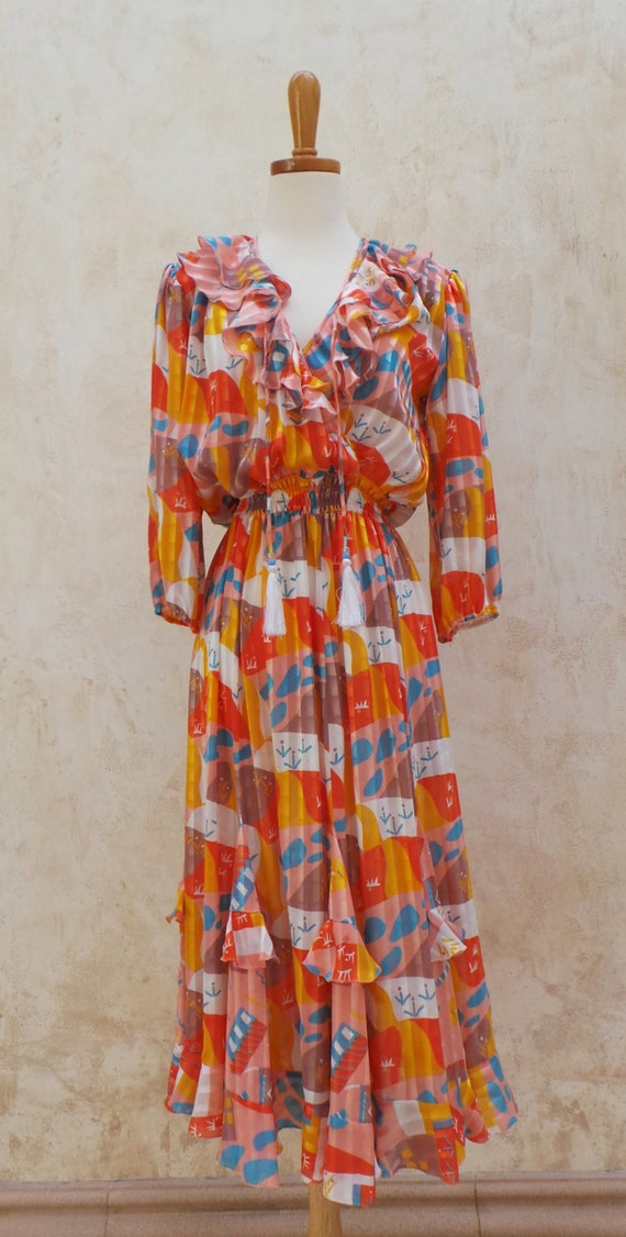 Vintage 70s - Abstract Mosaic Ruffle - Vintage Dress - Orange / Blue / Yellow - Womens Size S / M - 1970s Dress