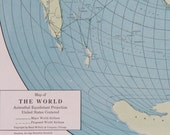 Vtg World Map or Puerto Rico Map, 1947
