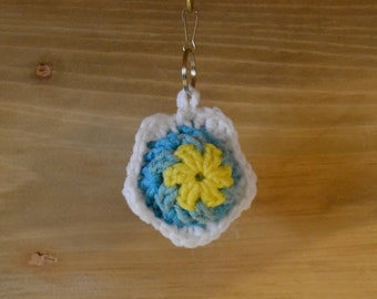 Crochet Flower Keychain Yellow Turquoise White Stocking Stuffer Handmade Littlestsister