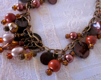 Amber Faceted Glass Bead and Copper Coin with Red Jasper and Brown Pearl BANGLE BRACELET