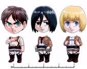 Mix and Match Magnets: Eren, Mikasa, Armin (Attack on Titan Set)