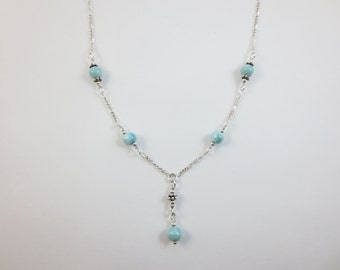 Larimar Necklace - Y Necklace - Lariat Necklace - 5 mm - 6 mm - 7 mm - Sterling Silver - 14k Fill
