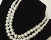 Chunky Pearl Necklace, Multi-strand Pearl Necklace, Pearl Statement Necklace, Chunky Pearl Statement Necklace, Double Strand Pearl Necklace