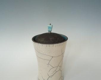 Raku Ceramic Lidded Pot