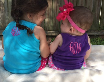 Monogram Tank Top - Personalized Name Shirt - Monogram Shirt - Womens -  Girl - Toddler - Baby - Back of Shirt Monogram