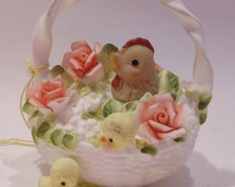 Josef Bone China Hen and Chicks in Basket Figurine